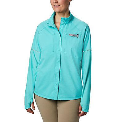Women's PFG Ultimate Catch ZERO™ Long Sleeve Hybrid Shirt Ultimate Catch ZERO™ LS Hybrid | 807 | L, Dolphin, front