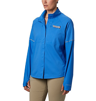 Women's PFG Ultimate Catch ZERO™ Long Sleeve Hybrid Shirt Ultimate Catch ZERO™ LS Hybrid | 807 | L, Stormy Blue, front