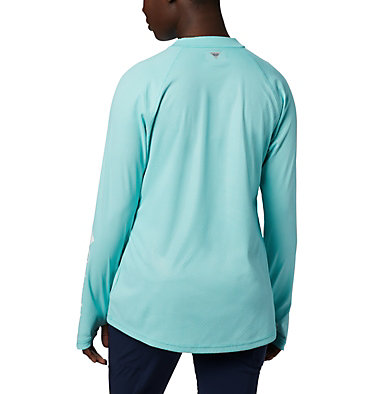 Women's PFG Tidal Deflector™ Zero Mock Long Sleeve Shirt Tidal Deflector ZERO™ Mock LS | 463 | S, Dolphin, back