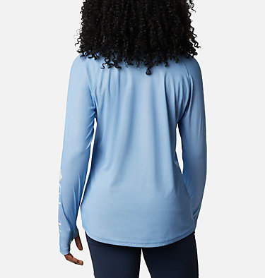 Women's PFG Tidal Deflector™ Zero Mock Long Sleeve Shirt Tidal Deflector ZERO™ Mock LS | 463 | S, Azure Blue, back