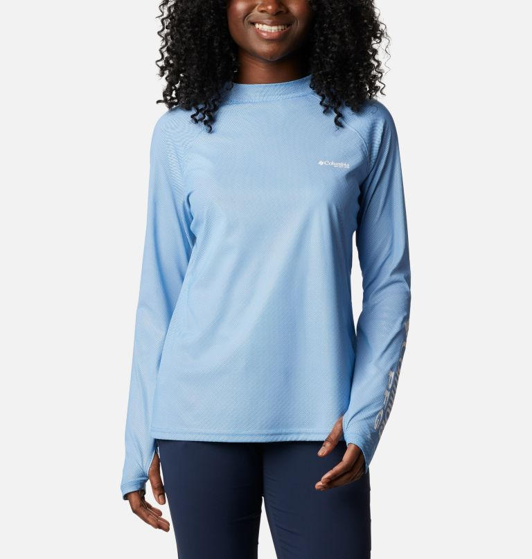 Tidal Deflector ZERO™ Mock LS | 463 | XL Women's PFG Tidal Deflector™ Zero Mock Long Sleeve Shirt, Azure Blue, front