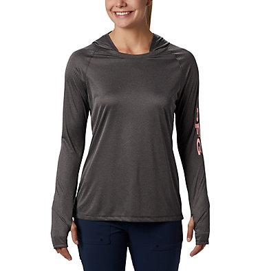 Women's PFG Tidal Tee™ Heather Hoodie Tidal Tee™ Heather Hoodie   450   XS, Black Heather, Tiki Pink Logo, front