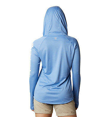 Women's PFG Tidal Tee™ Heather Hoodie Tidal Tee™ Heather Hoodie   450   XS, Stormy Blue Heather, White Logo, back