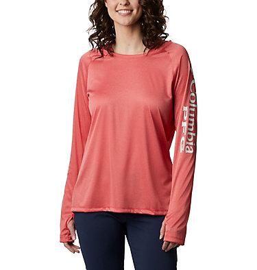 Women's PFG Tidal Tee™ Heather Hoodie Tidal Tee™ Heather Hoodie   450   XS, Red Lily Heather, White Logo, front