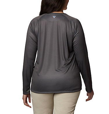Women's PFG Tidal™ Printed Medallion Long Sleeve T-Shirt – Plus Size Tidal Tee™ PFG Printed Medallion LS | 102 | 1X, City Grey, New Mint, back