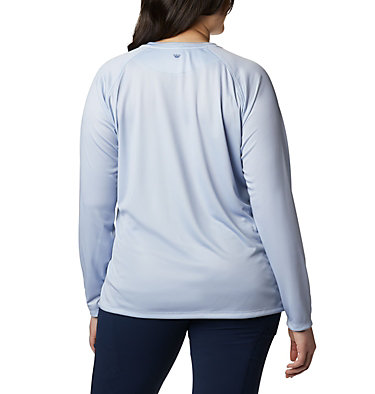 Women's PFG Tidal™ Printed Medallion Long Sleeve T-Shirt – Plus Size Tidal Tee™ PFG Printed Medallion LS | 102 | 1X, Cirrus Grey, Stormy Blue, back
