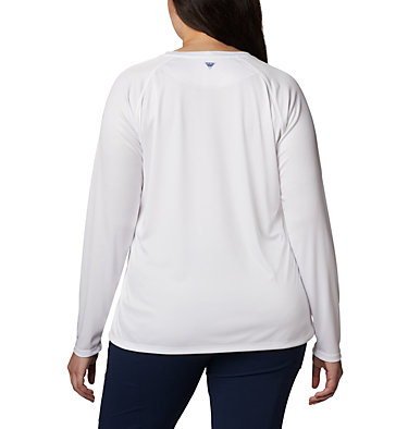 Women's PFG Tidal™ Printed Medallion Long Sleeve T-Shirt – Plus Size Tidal Tee™ PFG Printed Medallion LS | 102 | 1X, White, Collegiate Navy, back