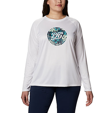 Women's PFG Tidal™ Printed Medallion Long Sleeve T-Shirt – Plus Size Tidal Tee™ PFG Printed Medallion LS | 102 | 1X, White, Collegiate Navy, front
