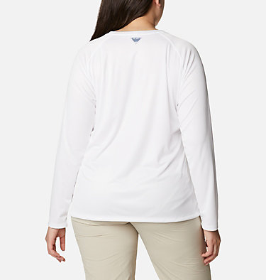 Women's PFG Tidal™ Printed Medallion Long Sleeve T-Shirt – Plus Size Tidal Tee™ PFG Printed Medallion LS | 102 | 1X, White, Archive Palm Print, back