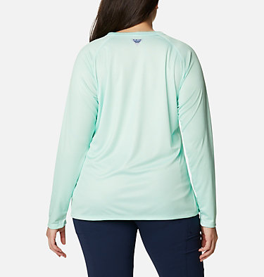 Women's PFG Tidal™ Printed Medallion Long Sleeve T-Shirt – Plus Size Tidal Tee™ PFG Printed Medallion LS | 102 | 1X, Light Mint, Archive Palm Print, back