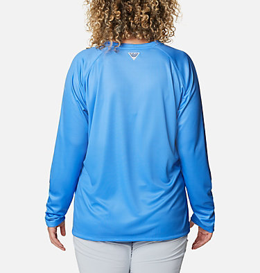 Women's PFG Tidal™ Printed Medallion Long Sleeve T-Shirt – Plus Size Tidal Tee™ PFG Printed Medallion LS | 102 | 1X, Azure Blue, Archive Palm Print, back