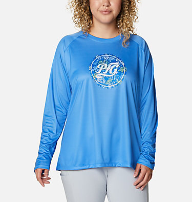 Women's PFG Tidal™ Printed Medallion Long Sleeve T-Shirt – Plus Size Tidal Tee™ PFG Printed Medallion LS | 102 | 1X, Azure Blue, Archive Palm Print, front