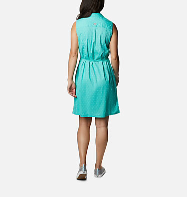 Women's PFG Bonehead™ Stretch Sleeveless Dress Bonehead™ Stretch SL Dress | 658 | L, Dolphin Swiss Dot, back