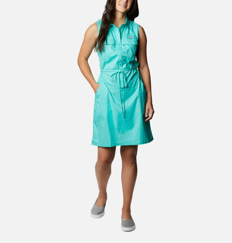 Bonehead™ Stretch SL Dress | 356 | M Women's PFG Bonehead™ Stretch Sleeveless Dress, Dolphin Swiss Dot, front