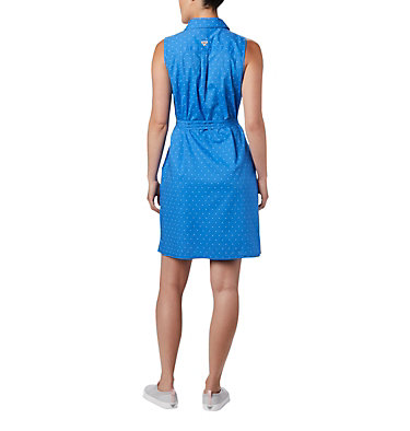 Women's PFG Bonehead™ Stretch Sleeveless Dress Bonehead™ Stretch SL Dress | 658 | L, Stormy Blue Swiss Dot, back