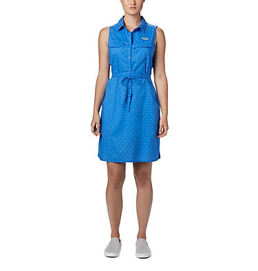Women's PFG Bonehead™ Stretch Sleeveless Dress Bonehead™ Stretch SL Dress | 658 | L, Stormy Blue Swiss Dot, front