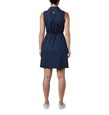 Women's PFG Bonehead™ Stretch Sleeveless Dress Bonehead™ Stretch SL Dress | 658 | L, Collegiate Navy Swiss Dot, back