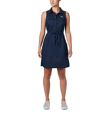 Women's PFG Bonehead™ Stretch Sleeveless Dress Bonehead™ Stretch SL Dress | 658 | L, Collegiate Navy Swiss Dot, front