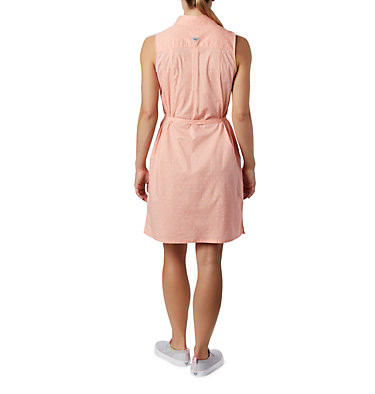 Women's PFG Bonehead™ Stretch Sleeveless Dress Bonehead™ Stretch SL Dress | 658 | L, Tiki Pink Swiss Dot, back