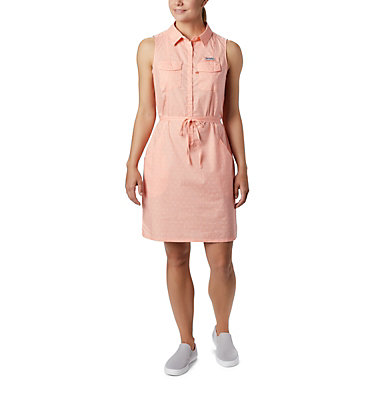 Women's PFG Bonehead™ Stretch Sleeveless Dress Bonehead™ Stretch SL Dress | 658 | L, Tiki Pink Swiss Dot, front