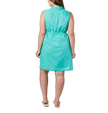 Women's PFG Bonehead™ Stretch Sleeveless Dress – Plus Size Bonehead™ Stretch SL Dress | 658 | 1X, Dolphin Swiss Dot, back