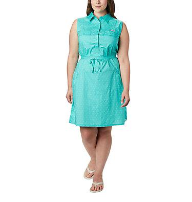 Women's PFG Bonehead™ Stretch Sleeveless Dress – Plus Size Bonehead™ Stretch SL Dress | 658 | 1X, Dolphin Swiss Dot, front