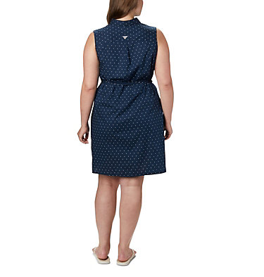 Robe sans manches extensible PFG Bonehead™ pour femme – Grandes tailles Bonehead™ Stretch SL Dress | 464 | 1X, Collegiate Navy Swiss Dot, back