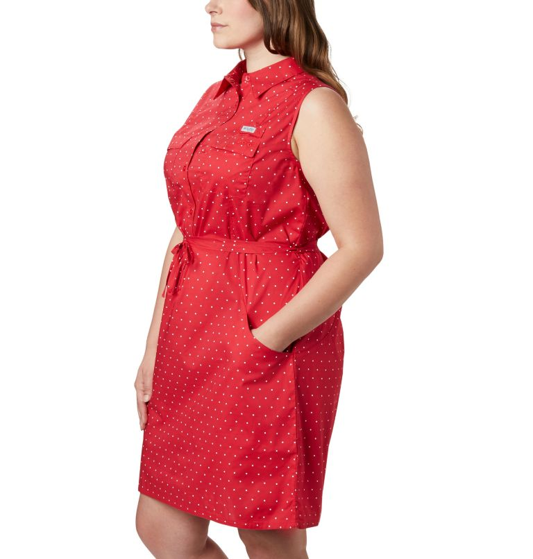 Bonehead™ Stretch SL Dress | 658 | 1X Women's PFG Bonehead™ Stretch Sleeveless Dress – Plus Size, Red Lily Swiss Dot, a1