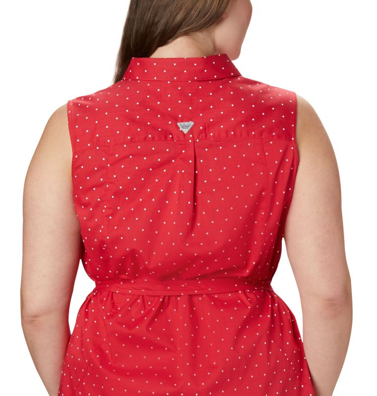 Bonehead™ Stretch SL Dress | 658 | 1X Women's PFG Bonehead™ Stretch Sleeveless Dress – Plus Size, Red Lily Swiss Dot, a3
