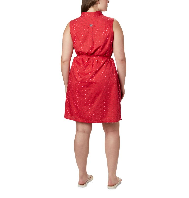 Bonehead™ Stretch SL Dress | 658 | 1X Women's PFG Bonehead™ Stretch Sleeveless Dress – Plus Size, Red Lily Swiss Dot, back