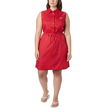 Women's PFG Bonehead™ Stretch Sleeveless Dress – Plus Size Bonehead™ Stretch SL Dress | 658 | 1X, Red Lily Swiss Dot, front