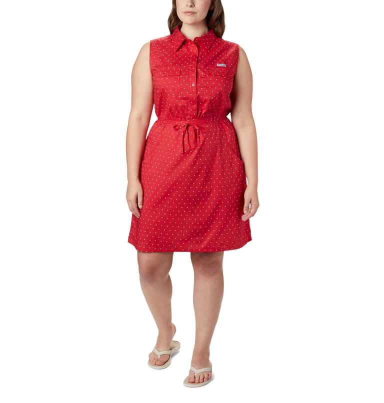 Bonehead™ Stretch SL Dress | 658 | 1X Women's PFG Bonehead™ Stretch Sleeveless Dress – Plus Size, Red Lily Swiss Dot, front