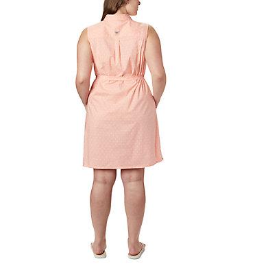 Women's PFG Bonehead™ Stretch Sleeveless Dress – Plus Size Bonehead™ Stretch SL Dress | 658 | 1X, Tiki Pink Swiss Dot, back