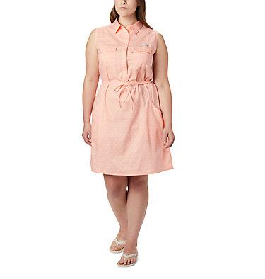 Women's PFG Bonehead™ Stretch Sleeveless Dress – Plus Size Bonehead™ Stretch SL Dress | 658 | 1X, Tiki Pink Swiss Dot, front