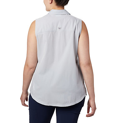 Women's Coral Point™ Sleeveless Woven Shirt – Plus Size Coral Point™ SL Woven | 100 | 1X, Cirrus Grey, back