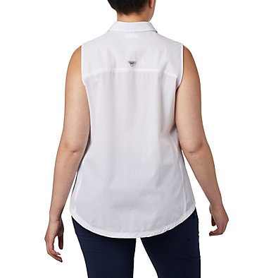 Women's Coral Point™ Sleeveless Woven Shirt – Plus Size Coral Point™ SL Woven | 100 | 1X, White, back