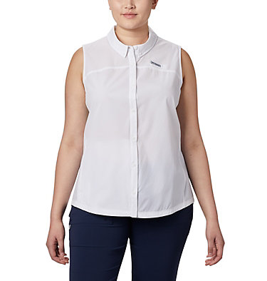 Women's Coral Point™ Sleeveless Woven Shirt – Plus Size Coral Point™ SL Woven | 100 | 1X, White, front