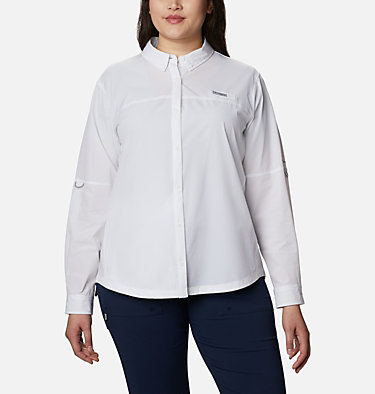 Women's Coral Point™ Long Sleeve Woven Shirt – Plus Size Coral Point™ LS Woven | 658 | 1X, White, front