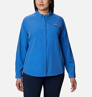 Women's Coral Point™ Long Sleeve Woven Shirt – Plus Size Coral Point™ LS Woven | 658 | 1X, Stormy Blue, front