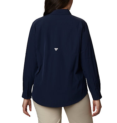 Women's Coral Point™ Long Sleeve Woven Shirt – Plus Size Coral Point™ LS Woven | 658 | 1X, Collegiate Navy, back