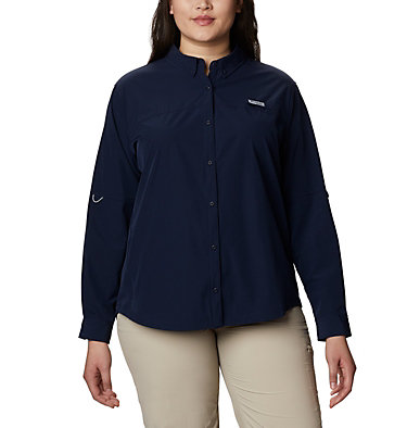 Women's Coral Point™ Long Sleeve Woven Shirt – Plus Size Coral Point™ LS Woven | 658 | 1X, Collegiate Navy, front