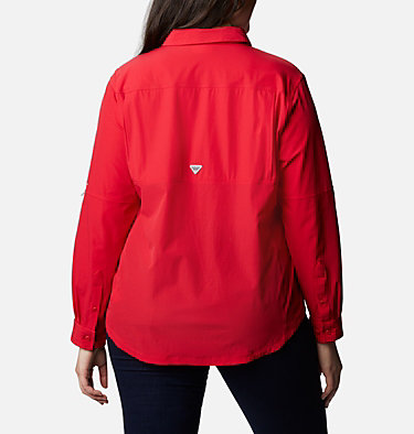 Women's Coral Point™ Long Sleeve Woven Shirt – Plus Size Coral Point™ LS Woven | 658 | 1X, Red Lily, back