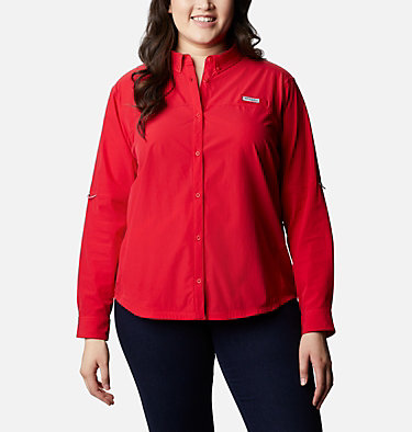 Women's Coral Point™ Long Sleeve Woven Shirt – Plus Size Coral Point™ LS Woven | 658 | 1X, Red Lily, front