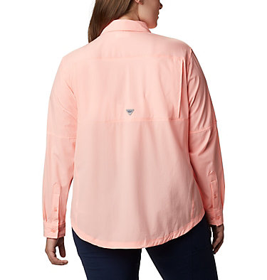Women's Coral Point™ Long Sleeve Woven Shirt – Plus Size Coral Point™ LS Woven | 658 | 1X, Tiki Pink, back