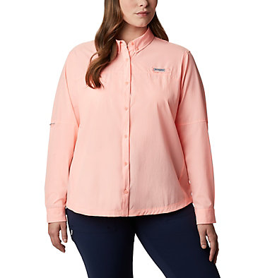 Women's Coral Point™ Long Sleeve Woven Shirt – Plus Size Coral Point™ LS Woven | 658 | 1X, Tiki Pink, front
