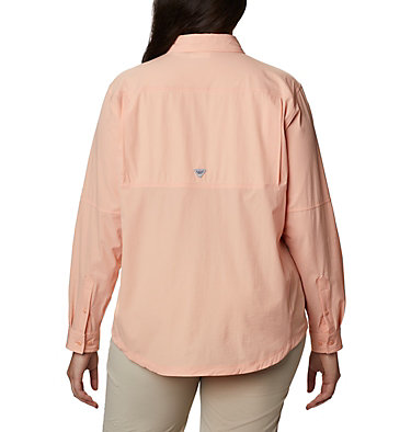 Women's Coral Point™ Long Sleeve Woven Shirt – Plus Size Coral Point™ LS Woven | 658 | 1X, Light Coral, back