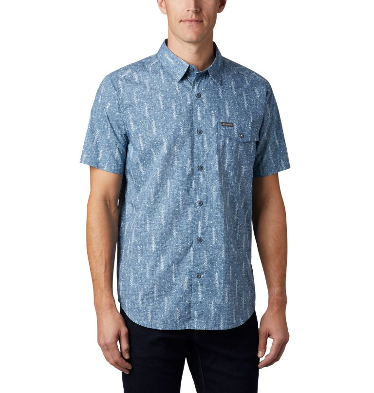 M Summer Chill™ SS Shirt | 427 | L Men's Summer Chill™ Short Sleeve Shirt, Sky Blue Trees, front