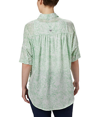 Tunique à manches 3/4 PFG Sun Drifter™ pour femme Sun Drifter™ 3/4 Sleeve Tunic | 468 | L, New Mint Wilderness Print, back