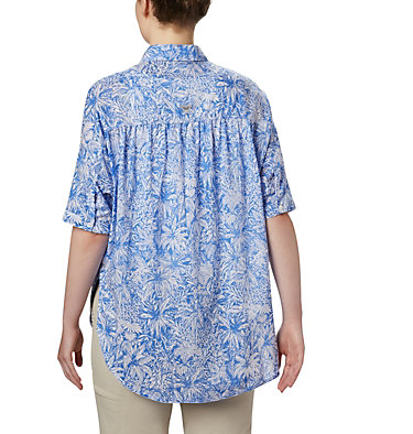 Tunique à manches 3/4 PFG Sun Drifter™ pour femme Sun Drifter™ 3/4 Sleeve Tunic | 468 | L, Stormy Blue Wilderness Print, back