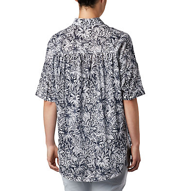 Tunique à manches 3/4 PFG Sun Drifter™ pour femme Sun Drifter™ 3/4 Sleeve Tunic | 468 | L, Collegiate Navy Wilderness Print, back